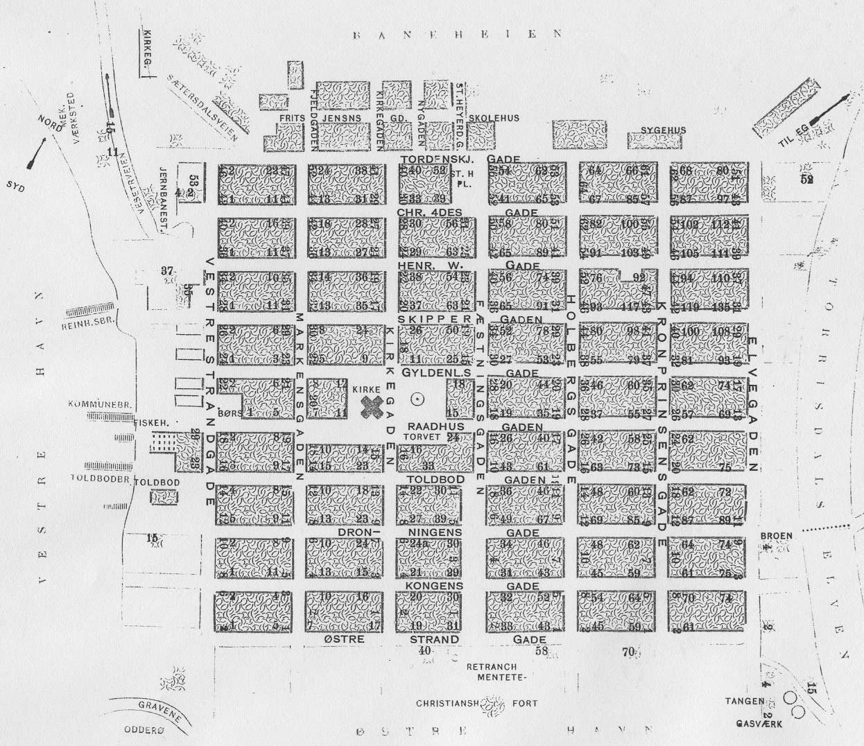 matrikkel kart Dokumenter: Kristiansand 1919 Matrikkelkart sentrum matrikkel kart